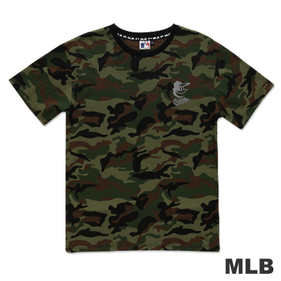 MLB-巴爾的摩金鶯隊圓領反光迷彩短袖T恤-綠(男)