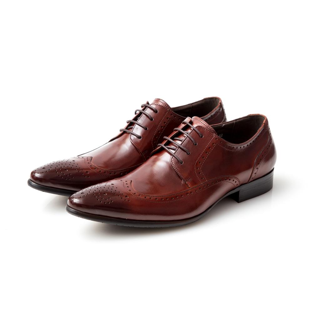 ALLEGREZZA-真皮男鞋-時尚型格-真皮藝紋雕花尖頭綁帶鞋  咖啡紅