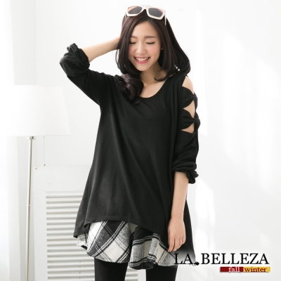 中大尺碼 韓版肩袖子立體蝴蝶結挖洞上衣-La Belleza
