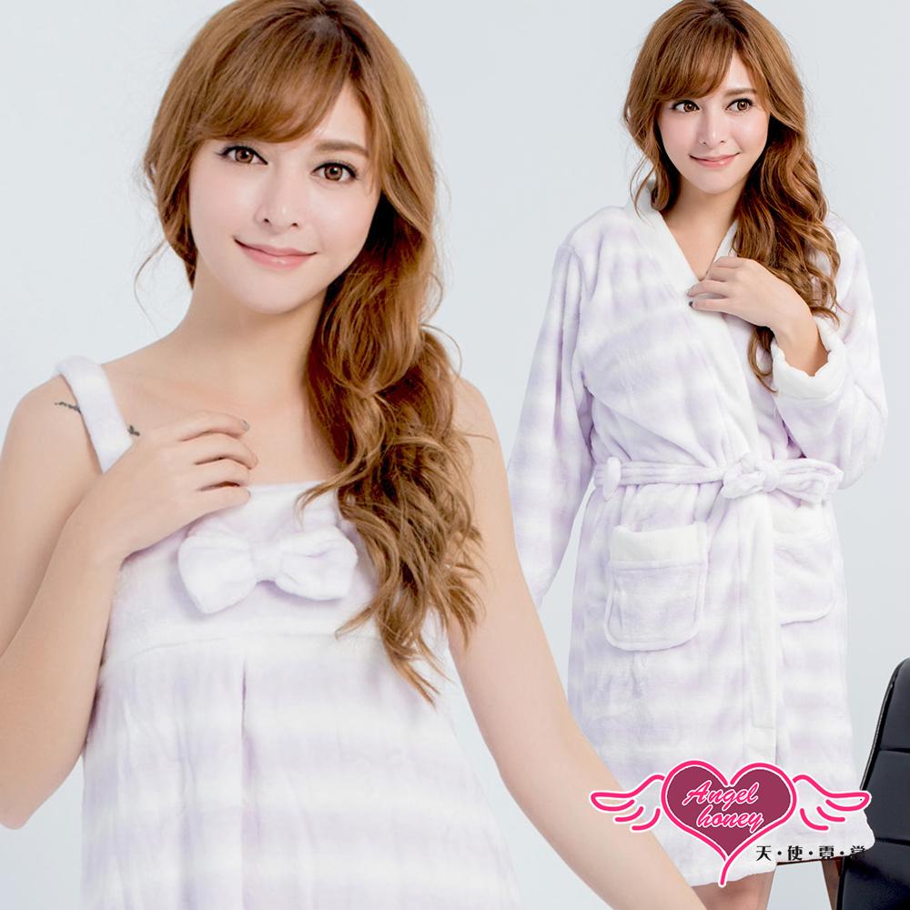 睡袍 純真甜戀 柔軟法蘭絨條紋二件式綁帶睡衣(白紫F) AngelHoney天使霓裳