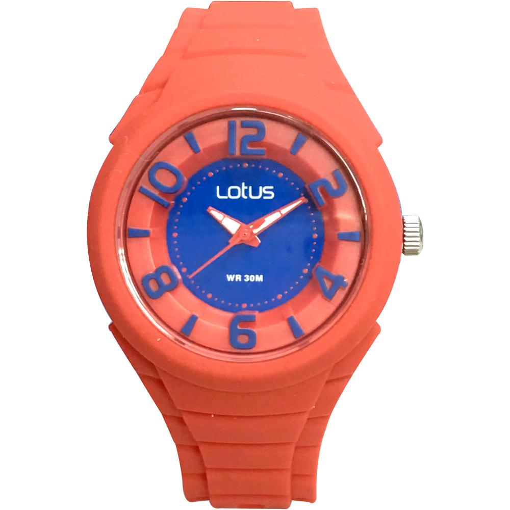 Lotus 撞色潮流 立體指針休閒女錶(TP2132L-06)-橘紅x藍面/37mm