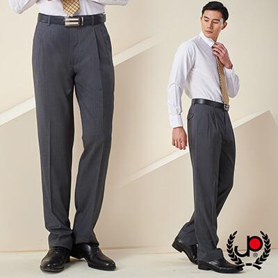 極品西服-商務質男仿毛條紋款雙褶西褲_灰白條(BS637-2)