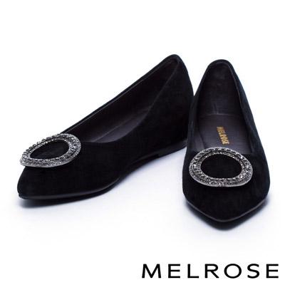 娃娃鞋 MELROSE 圓型鑽釦羊麂皮內增高娃娃鞋-黑