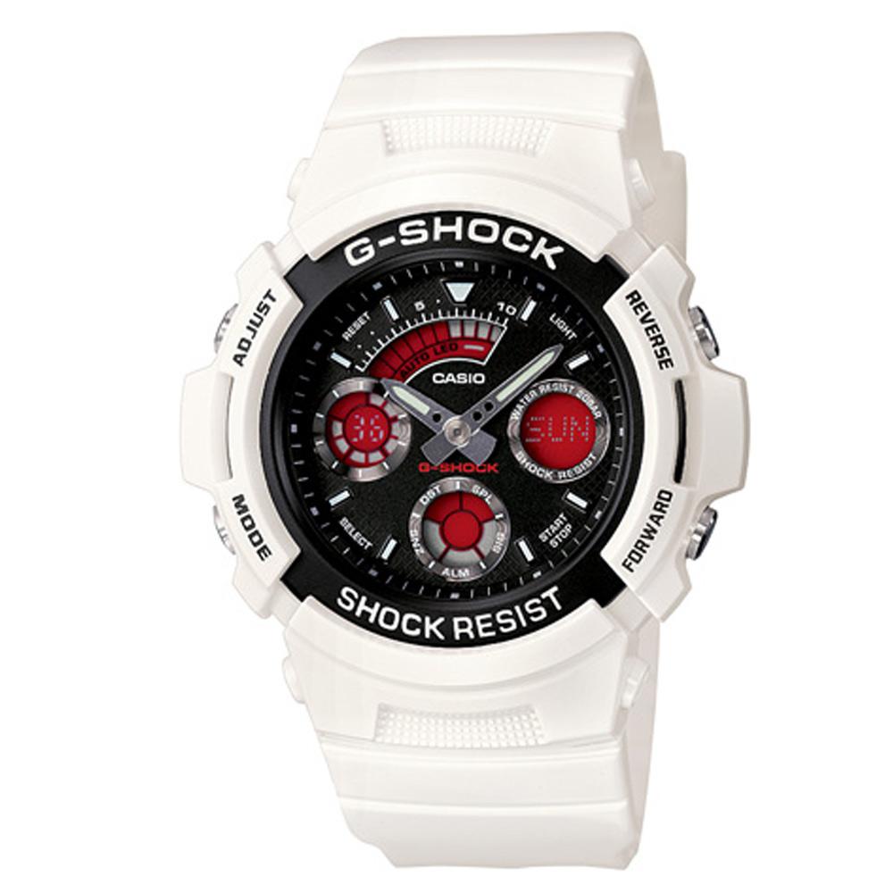 G-SHOCK 寒冰極速先鋒運動雙顯錶(AW-591SC-7A)-白/46.4mm