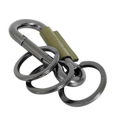 COACH橄欖綠真皮飾邊金屬掛式三環鑰匙圈
