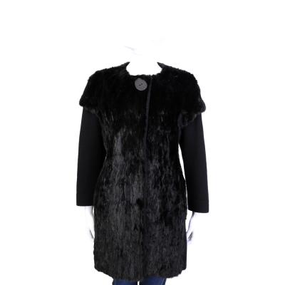 GRANDI furs 黑色雙材質拼接皮草外套