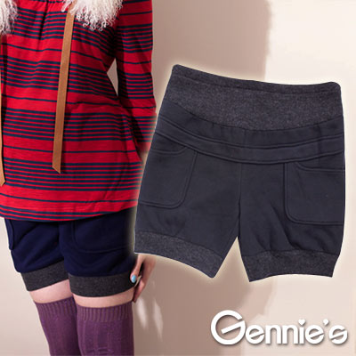 【Gennie's奇妮】實穿百搭款羊毛孕婦短褲(G4407)