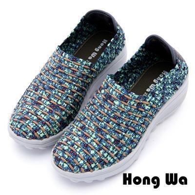 Hong Wa - 運動休閒透氣叢林紋編織布鞋 - 綠