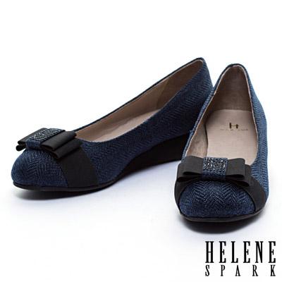楔型鞋-HELENE-SPARK-晶鑽蝴蝶接斜紋布面楔型鞋-藍