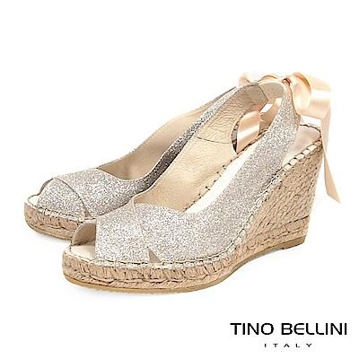 Tino Bellini 西班牙進口浪漫女神魚口麻底楔型鞋_ 白