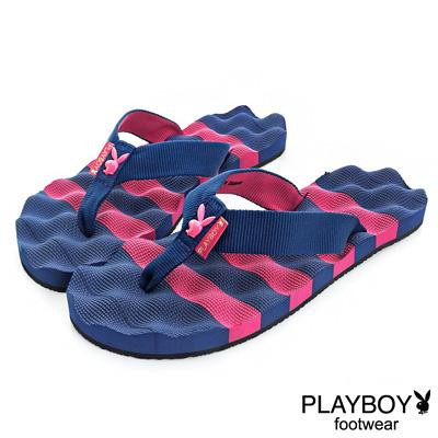 PLAYBOY踏浪青春 條紋布編夾腳拖鞋-桃藍(女)