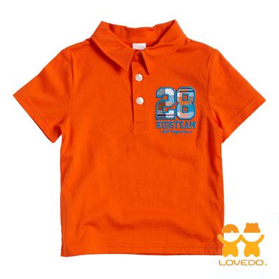 【LOVEDO艾唯多童裝】運動球員28號 潮流短袖Polo衫 (桔)