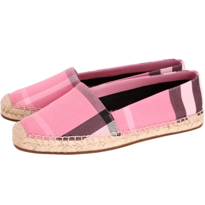 BURBERRY Canvas 經典格紋草編鞋(女鞋/玫瑰粉)