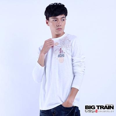 BIG TRAIN 豐饒菊鯉長袖圓領T-男-白色