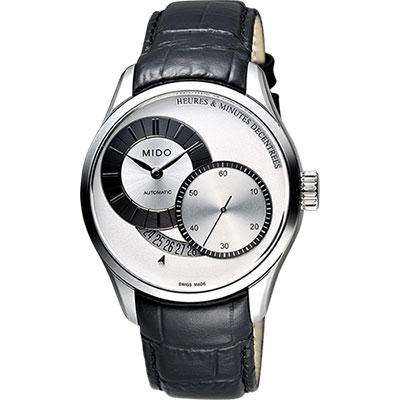 MIDO Belluna II Gent 時分偏心機械腕錶-銀x黑/40mm M0244441603100