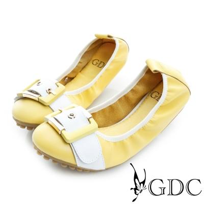 GDC-彈力皮帶飾扣真皮豆豆平底娃娃鞋-黃色