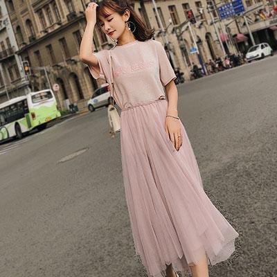 刺繡金蔥T恤+不規則紗裙 兩件套 (共二色)-Kugi Girl
