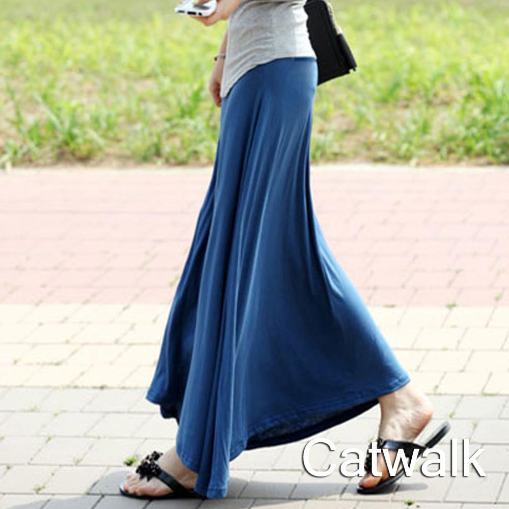 裙子 純色包臀棉質長裙(藍)-Catwalk