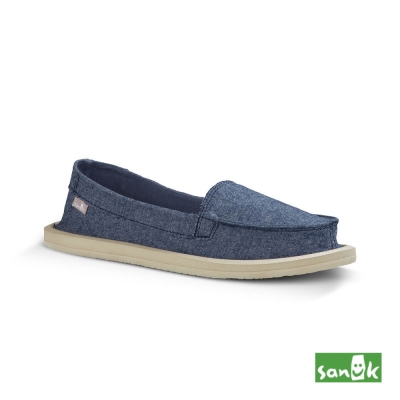 SANUK 素面帆布娃娃鞋-女款(藍色)