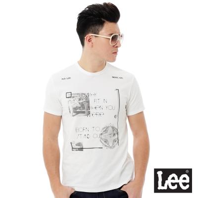 Lee 耐看百搭圓領照片印花短袖T恤-男款-白色