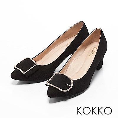 KOKKO -都會女神尖頭水鑽扣高跟鞋-經典黑