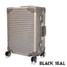 福利品 BLACK SEAL 專利霧面橫條紋 29吋防刮耐撞鋁框行李箱-沙灘金 BS258
