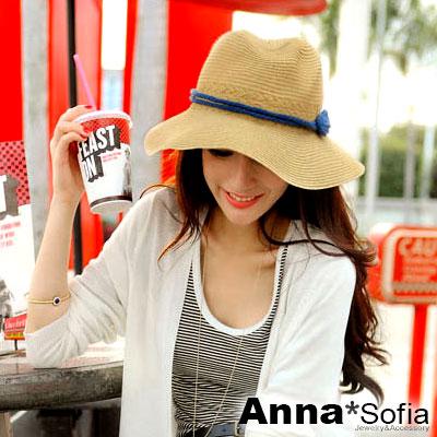 AnnaSofia 8字繩結帶 寬簷防曬遮陽紳士帽爵士帽草帽(駝系)