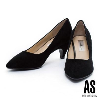 高跟鞋-AS-細緻羊麂皮素面尖頭高跟鞋-黑