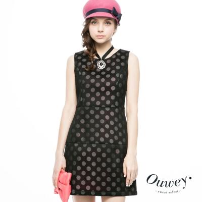 OUWEY歐薇-圓點貼合網剪接配色洋裝