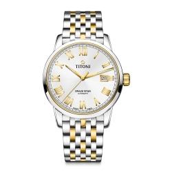 TITONI瑞士梅花錶 天星系列(83538 SY-561)-銀白/不鏽鋼間金色/40mm