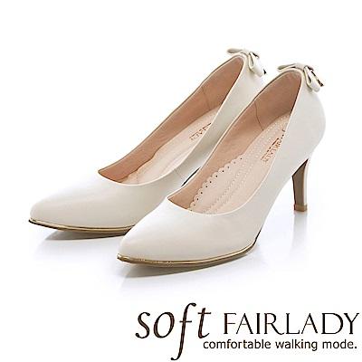 Fair Lady soft芯太軟 浪漫蝴蝶結方鑽尖頭高跟鞋 白
