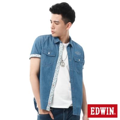 EDWIN 棕梠印花牛仔休閒襯衫-男-酵洗藍