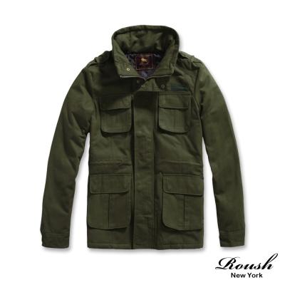ROUSH-左胸貼布高領韓版軍裝鋪棉大衣-2色