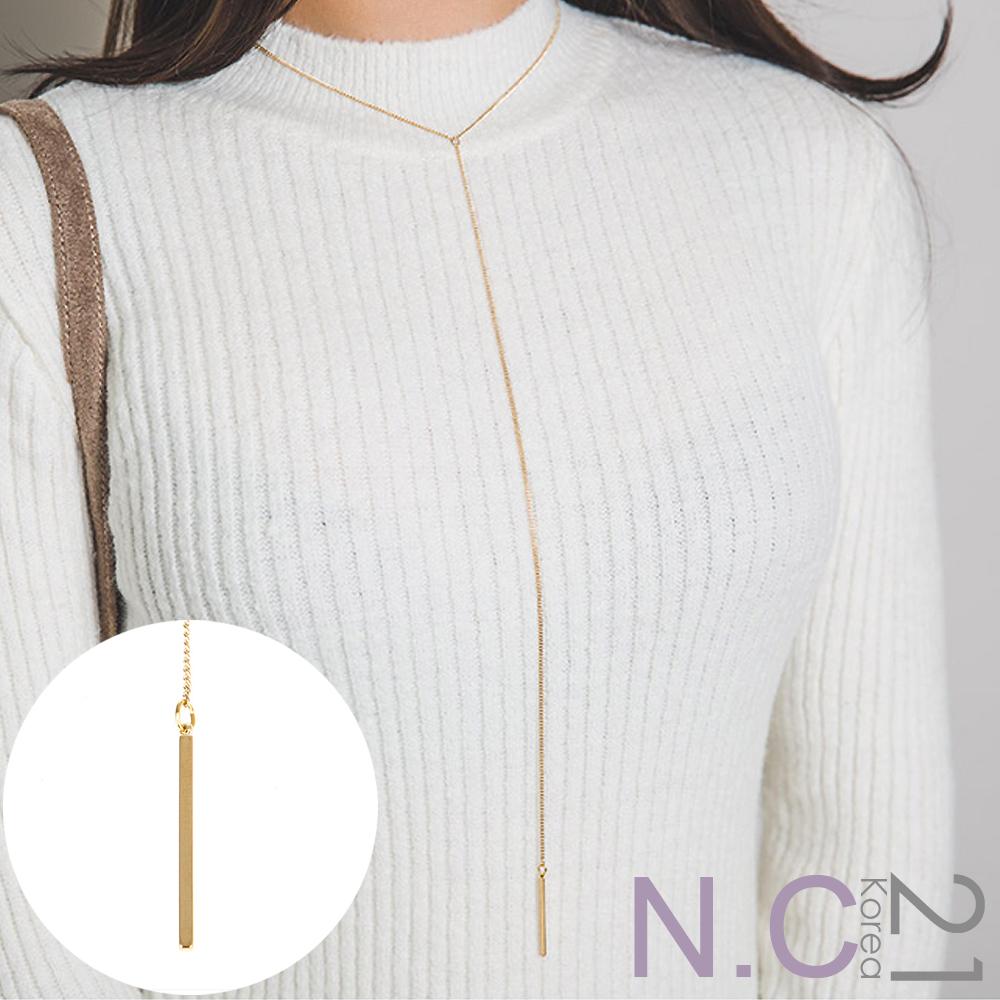 N.C21-韓系簡約繞頸長鍊垂墜感項鍊 (金色)