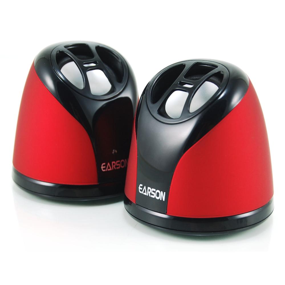 EARSON 攜帶型2件式多媒體電腦喇叭 ER-1009 紅色