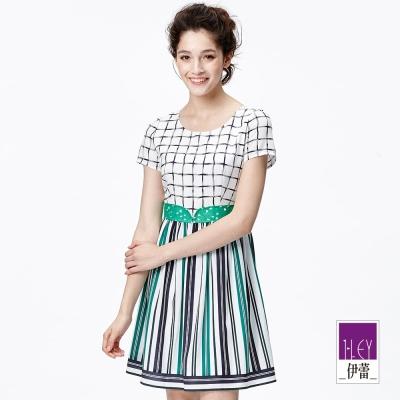 ILEY伊蕾 藍綠條細褶洋裝(綠)