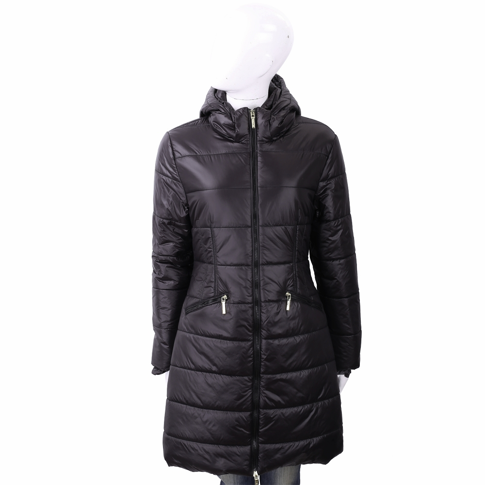 BLUGIRL-FOLIES 絎縫炭黑色科技棉保暖連帽外套