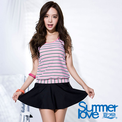 夏之戀SUMMERLOVE 粉紅條紋長版兩件式泳衣