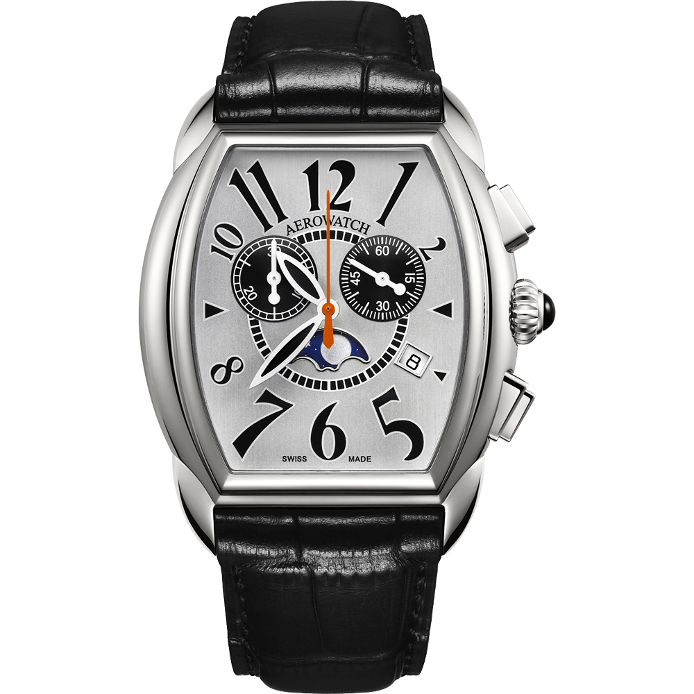 AEROWATCH 藝術酒桶型計時腕錶-銀x黑/40mm