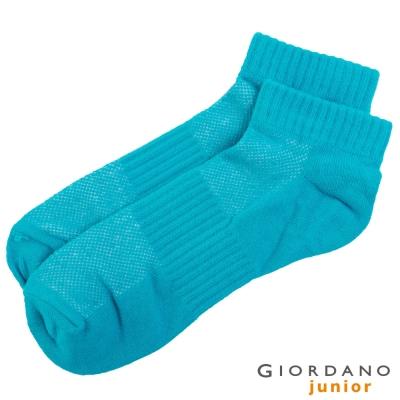 GIORDANO-童裝素面反折字母短襪-55翡翠藍