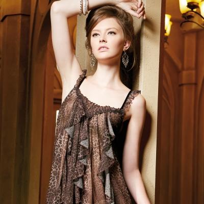 羅絲美睡衣 - 時尚豹紋性感細肩帶洋裝睡衣 (豹紋色)