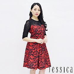 JESSICA - 蕾絲印花拼接修身洋裝(紅)