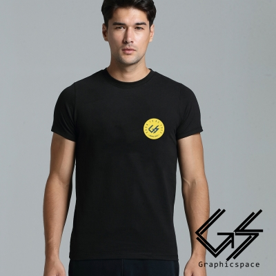 胸前圓形黃底小LOGO磨毛水洗T恤 (共二色)-GraphicSpace