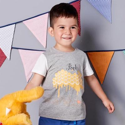 Disney baby 維尼系列焦糖短袖上衣 麻花灰