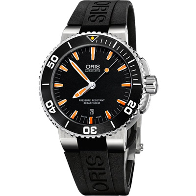 Oris Aquis 時間之海專業潛水機械腕錶-黑x橘時標/43mm