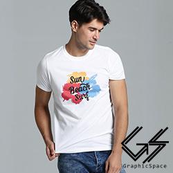 陽光海灘三色花磨毛水洗T恤(共二色)-GraphicSpace