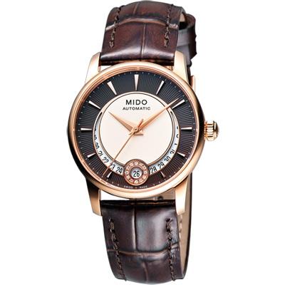 MIDO Baroncelli 真鑽機械腕錶-咖啡x玫瑰金框/33mm