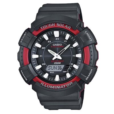 CASIO 太陽能全方位多機能雙顯運動錶(AD-S800WH-4A)-黑/紅框-51mm