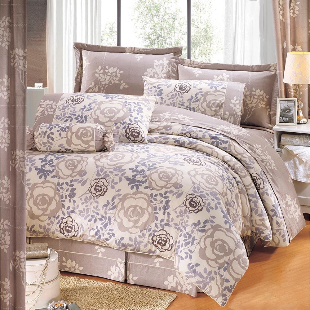 鴻宇HongYew100%美國精梳棉-香榭玫瑰-雙人七件式兩用被床罩組