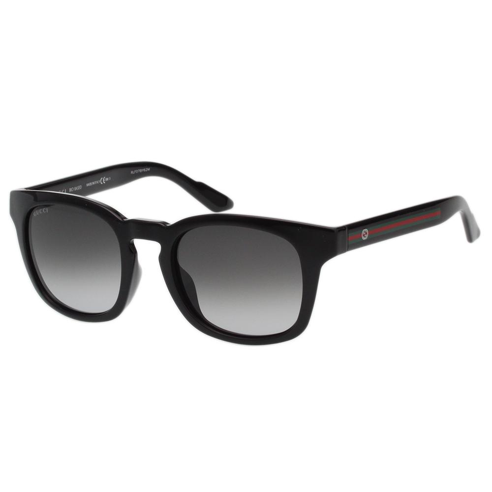 GUCCI- 紅綠腳 復古感方框 太陽眼鏡 (黑色) 原廠盒(為福利品)另加購